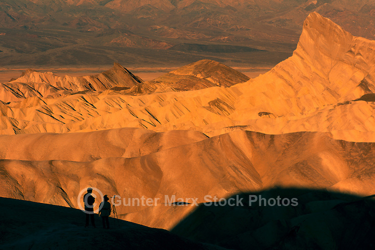 Death Valley National Park, California, CA, USA - Sunrise on 'Manly Beacon' and Eroded Landscape, from Zabriskie Point in the Amargosa Range