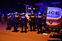 Washington, DC - June 1, 2020: DC Metropolitan Police stage as protesters gather at 15th & Swann St. NW, Washington, DC  June 1, 2020, in the wake of the death of George Floyd by a Minnesota police officer.  (Photo by Don Baxter/Media Images International)