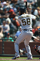 SAN FRANCISCO, CA - JULY 25: Jacob Stallings #58 of the Pittsburgh Pirates bats against the San Francisco Giants during the game at Oracle Park on Sunday, July 25, 2021 in San Francisco, California. (Photo by Brad Mangin)