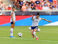 HOUSTON, TX - JUNE 10: Christen Press #23 of the United States warming up before a game between Portugal and USWNT at BBVA Stadium on June 10, 2021 in Houston, Texas.