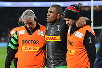 Kyle Sinckler of Harlequins leave the field injured during Big Game 12 in the Gallagher Premiership Rugby match between Harlequins and Leicester Tigers at Twickenham Stadium on Saturday 28th December 2019 (Photo by Rob Munro/Stewart Communications)