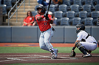 Batavia Muckdogs Albert Guaimaro (13) hits a home run during a NY-Penn League game against the West Virginia Black Bears on August 29, 2019 at Monongalia County Ballpark in Morgantown, New York.  West Virginia defeated Batavia 5-4 in ten innings.  (Mike Janes/Four Seam Images)