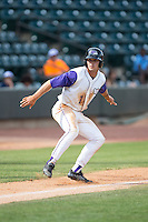 Adam Engel (7) of the Winston-Salem Dash takes his lead off of third base against the Salem Red Sox at BB&T Ballpark on May 31, 2015 in Winston-Salem, North Carolina.  The Red Sox defeated the Dash 6-5.  (Brian Westerholt/Four Seam Images)