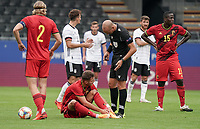 Referee Michael Fabbri checks with Belgium's  Zinho Verheusden (3) if he is OK to get up during a soccer game between the national teams Under21 Youth teams of Belgium and Germany on the 5th matday in group 9 for the qualification for the Under 21 EURO 2021 , on tuesday 8 th of September 2020  in Leuven , Belgium . PHOTO SPORTPIX.BE   SPP   SEVIL OKTEM
