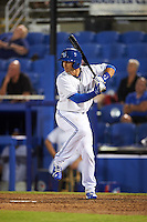 Dunedin Blue Jays catcher Mike Reeves (7) at bat during a game against the Palm Beach Cardinals on April 15, 2016 at Florida Auto Exchange Stadium in Dunedin, Florida.  Dunedin defeated Palm Beach 8-7 in ten innings.  (Mike Janes/Four Seam Images)