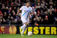 21.02.2013 Liverpool, England.Hulk of Zenit St Petersburg breaks through to score the first goal from a poor Carragher backpass during the Europa League game between Liverpool and Zenit St Petersburg from Anfield.