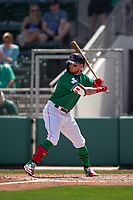 Boston Red Sox Alex Verdugo (99) bats during a Major League Spring Training game against the Minnesota Twins on March 17, 2021 at JetBlue Park in Fort Myers, Florida.  (Mike Janes/Four Seam Images)