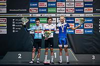U23 podium:<br /> 1/ GOLD: Marc Hirschi (SUI)<br /> 2 / SILVER: Bjorg Lambrecht (BEL)<br /> 3/ BRONZE: Jaakko Hanninen (FIN)<br /> <br /> MEN UNDER 23 ROAD RACE<br /> Kufstein to Innsbruck: 180 km<br /> <br /> UCI 2018 Road World Championships<br /> Innsbruck - Tirol / Austria