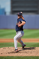 Lowell Spinners relief pitcher Kevin Biondic (48) delivers a pitch during a game against the Staten Island Yankees on August 22, 2018 at Richmond County Bank Ballpark in Staten Island, New York.  Staten Island defeated Lowell 10-4.  (Mike Janes/Four Seam Images)