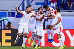Baha' Abdelrahman of Jordan (C) celebrates after scoring his goal with teammates during the AFC Asian Cup UAE 2019 Round of 16 match between Jordan (JOR) and Vietnam (VIE) at Al Maktoum Stadium on 20 January 2019 in Dubai, United Arab Emirates. Photo by Marcio Rodrigo Machado / Power Sport Images