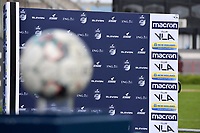 illustration picture with matchball and interviewing bildboard from Eleven Sport  pictured during a female soccer game between Club Brugge Dames YLA and Oud Heverlee Leuven on the first matchday in Play-Off 1 of the 2020 - 2021 season of Belgian Scooore Womens Super League , saturday 3 th April 2021  in Brugge , Belgium . PHOTO SPORTPIX.BE | SPP | DIRK VUYLSTEKE