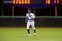 AZL Dodgers left fielder Felix Osorio (27) jogs off the field between innings of the game against the AZL Indians on July 20, 2017 at Camelback Ranch in Glendale, Arizona. AZL Dodgers defeated the AZL Indians 10-9. (Zachary Lucy/Four Seam Images)