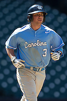 North Carolina Tar Heels second baseman Mike Zolk #3 jogs to first base after walking against the California Golden Bears in the NCAA baseball game on March 2nd, 2013 at Minute Maid Park in Houston, Texas. North Carolina defeated Cal 11-5. (Andrew Woolley/Four Seam Images).