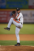 Aberdeen IronBirds relief pitcher Jose Diaz (40) delivers a pitch during a game against the Tri-City ValleyCats on August 27, 2018 at Joseph L. Bruno Stadium in Troy, New York.  Aberdeen defeated Tri-City 11-5.  (Mike Janes/Four Seam Images)