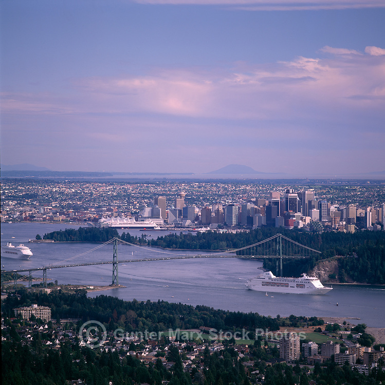Cruise Ships, en route to Alaska, leaving Vancouver Harbour, Vancouver, British Columbia, Canada