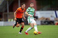 22nd August 2020; Tannadice Park, Dundee, Scotland; Scottish Premiership Football, Dundee United versus Celtic; Logan Chalmers of Dundee United as Ryan Christie of Celtic passes the ball off