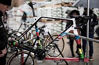 frame #4 getting prepped for CX World Champion Mathieu van der Poel (NED/Corendon-Circus)<br /> <br /> Jaarmarktcross Niel 2019 (BEL)<br /> <br /> ©kramon