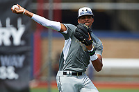 Delvin Perez (1) of International Baseball Academy in Loiza, Puerto Rico during the Under Armour All-American Game practice on August 14, 2015 at Les Miller Field in Chicago, Illinois. (Mike Janes/Four Seam Images)