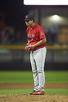 Salem Red Sox starting pitcher Daniel Gonzalez (47) looks to his catcher for the sign against the Fayetteville Woodpeckers at Segra Stadium on May 15, 2019 in Fayetteville, North Carolina. The Woodpeckers defeated the Red Sox 6-2. (Brian Westerholt/Four Seam Images)