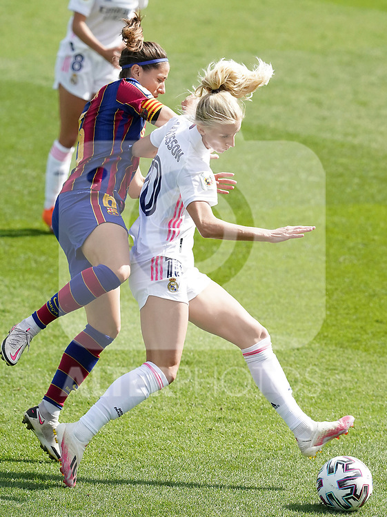 First official match and first classic in the history of women's Real Madrid.<br /> Real Madrid's Sofia Jakobsson (r) and FC Barcelona's Victoria Losada during Spanish Female League match. October 4,2020. (ALTERPHOTOS/Acero)
