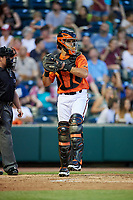 Richmond Flying Squirrels catcher Aramis Garcia (14) throws back to the pitcher during a game against the Trenton Thunder on May 11, 2018 at The Diamond in Richmond, Virginia.  Richmond defeated Trenton 6-1.  (Mike Janes/Four Seam Images)