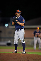 Connecticut Tigers relief pitcher Colyn O'Connell (56) gets ready to deliver a pitch during a game against the Auburn Doubledays on August 8, 2017 at Falcon Park in Auburn, New York.  Auburn defeated Connecticut 7-4.  (Mike Janes/Four Seam Images)