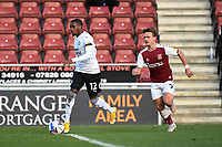 10th October 2020; Sixfields Stadium, Northampton, East Midlands, England; English Football League One, Northampton Town versus Peterborough United; Reece Brown just before shooting to score Peterborough's second goal.