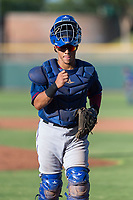 AZL Rangers catcher Xavier Valentin (45) during an Arizona League game against the AZL Giants Black at Scottsdale Stadium on August 4, 2018 in Scottsdale, Arizona. The AZL Giants Black defeated the AZL Rangers by a score of 3-2 in the first game of a doubleheader. (Zachary Lucy/Four Seam Images)
