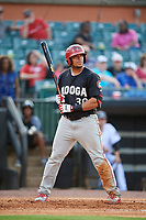 Chattanooga Lookouts first baseman Jonathan Rodriguez (30) at bat during a game against the Jackson Generals on April 29, 2017 at The Ballpark at Jackson in Jackson, Tennessee.  Jackson defeated Chattanooga 7-4.  (Mike Janes/Four Seam Images)