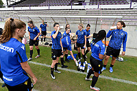 team of Club Brugge  pictured during the warming up of a female soccer game between SV Zulte - Waregem and Club Brugge YLA on the fourth matchday of the 2021 - 2022 season of the Belgian Scooore Womens Super League , saturday 11 of September 2021  in Harelbeke , Belgium . PHOTO SPORTPIX | DIRK VUYLSTEKE