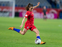 CARSON, CA - FEBRUARY 7: Kelley O'Hara #5 of the United States crosses the ball during a game between Mexico and USWNT at Dignity Health Sports Park on February 7, 2020 in Carson, California.