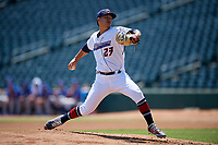 Jacksonville Jumbo Shrimp starting pitcher Jordan Yamamoto (23) delivers a pitch during a Southern League game against the Tennessee Smokies on April 29, 2019 at Baseball Grounds of Jacksonville in Jacksonville, Florida.  Tennessee defeated Jacksonville 4-1.  (Mike Janes/Four Seam Images)