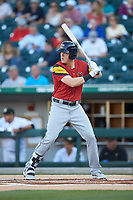 Josh Lester (23) of the Toledo Mud Hens at bat against the Charlotte Knights at BB&T BallPark on April 23, 2019 in Charlotte, North Carolina. The Knights defeated the Mud Hens 11-9 in 10 innings. (Brian Westerholt/Four Seam Images)