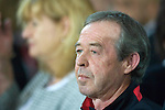 Wales football caretaker Manager Brian Flynn during the Euro 2010 qualifying match between Wales and Bulgaria at Cardiff City Stadium..