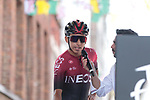 Egan Bernal (COL) Team Ineos at sign on before Stage 3 of the 2019 Tour de France running 215km from Binche, Belgium to Epernay, France. 8th July 2019.<br /> Picture: Colin Flockton | Cyclefile<br /> All photos usage must carry mandatory copyright credit (© Cyclefile | Colin Flockton)