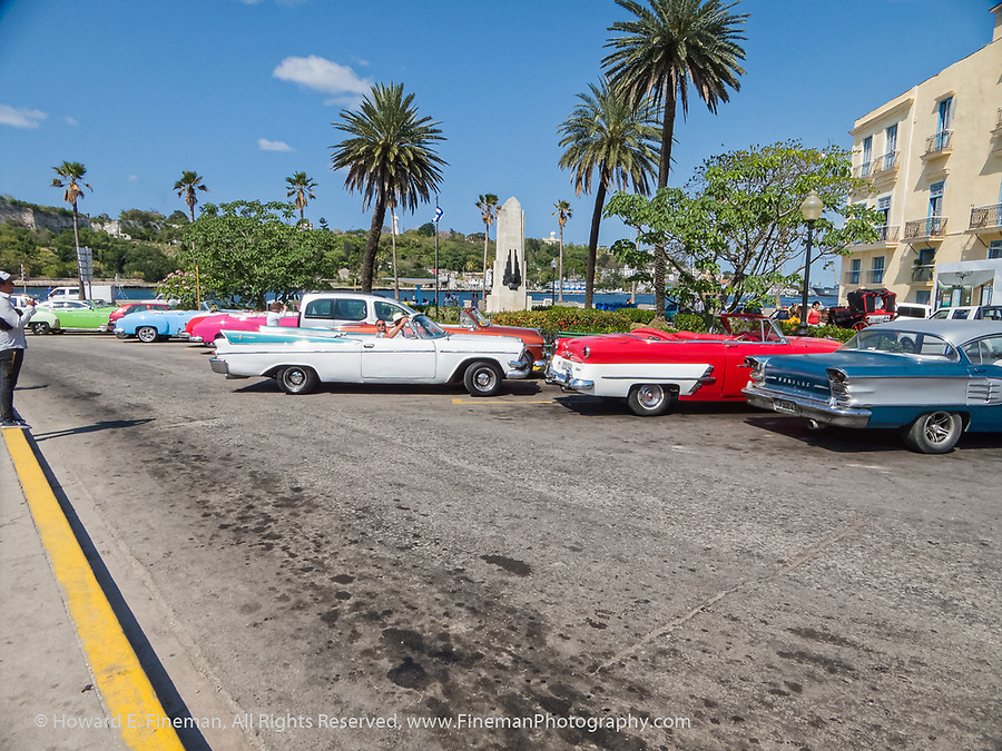 Many 50's convertibles parked near the fort.  These are now tourist taxis.