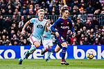 Denis Suarez of FC Barcelona (R) in action against Daniel Wass of RC Celta de Vigo (L) during the La Liga 2017-18 match between FC Barcelona and RC Celta de Vigo at Camp Nou Stadium on 02 December 2017 in Barcelona, Spain. Photo by Vicens Gimenez / Power Sport Images