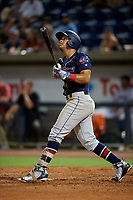 Jacksonville Jumbo Shrimp shortstop Joe Dunand (1) hits a home run during a game against the Pensacola Blue Wahoos on August 15, 2018 at Blue Wahoos Stadium in Pensacola, Florida.  Jacksonville defeated Pensacola 9-2.  (Mike Janes/Four Seam Images)