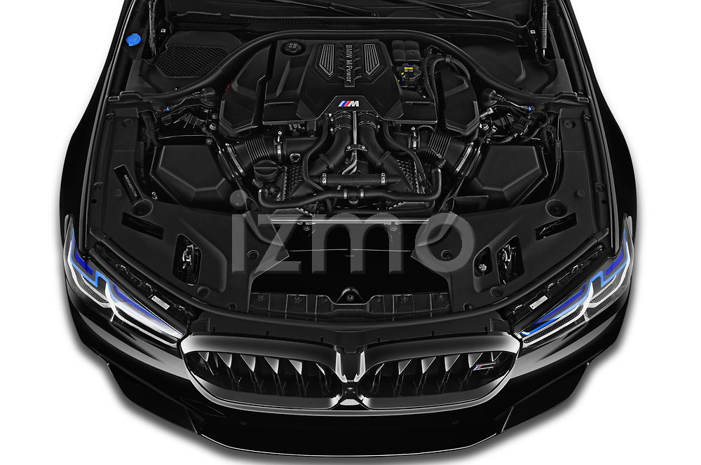 High angle engine detail of a 2021 BMW M5 Competition 4 Door Sedan