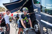 Castellon, SPAIN - SEPTEMBER 7: Movistar biker during LA Vuelta 2016 on September 7, 2016 in Castellon, Spain