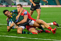 29th September 2020; Franklin Gardens, Northampton, East Midlands, England; Premiership Rugby Union, Northampton Saints versus Sale Sharks; Alex Mitchell of Northampton Saints scores a try