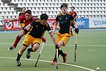v.li.: Erik Kleinlein (MHC, 12), Xaver Hasun (HTHC, 27), Jamie Staudinger (HTHC, 3), Zweikampf, Spielszene, Duell, duel, tackle, tackling, Dynamik, Action, Aktion, 01.05.2021, Mannheim  (Deutschland), Hockey, Deutsche Meisterschaft, Viertelfinale, Herren, Mannheimer HC - Harvestehuder THC <br /> <br /> Foto © PIX-Sportfotos *** Foto ist honorarpflichtig! *** Auf Anfrage in hoeherer Qualitaet/Aufloesung. Belegexemplar erbeten. Veroeffentlichung ausschliesslich fuer journalistisch-publizistische Zwecke. For editorial use only.