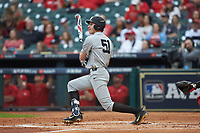 JJ Bleday (51) of the Vanderbilt Commodores follows through on his swing against the Louisiana Ragin' Cajuns in game five of the 2018 Shriners Hospitals for Children College Classic at Minute Maid Park on March 3, 2018 in Houston, Texas.  The Ragin' Cajuns defeated the Commodores 3-0.  (Brian Westerholt/Four Seam Images)