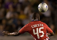 Newly Acquired defender for Chivas USA Yamith Cuesta heads a ball. The LA Galaxy defeated Chivas USA 1-0 to win the final edition of the 2009 SuperClásico at Home Depot Center stadium in Carson, California on Saturday, August 29, 2009...