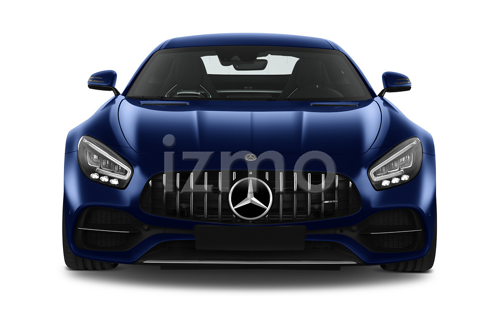 Car photography straight front view of a 2020 Mercedes Benz AMG-GT C 3 Door Coupe Front View