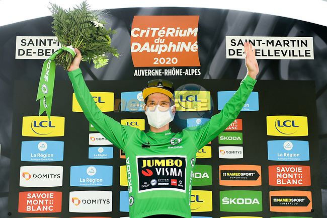 Race leader Primoz Roglic (SLO) Team Jumbo-Visma also retains the Green Jersey at the end of Stage 3 of Criterium du Dauphine 2020, running 157km from Corenc to Saint-Martin-de-Belleville, France. 14th August 2020.<br /> Picture: ASO/Alex Broadway   Cyclefile<br /> All photos usage must carry mandatory copyright credit (© Cyclefile   ASO/Alex Broadway)