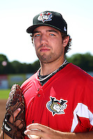 Tri-City ValleyCats pitcher Mitchell Lambson #28 poses for a photo before a game against the Batavia Muckdogs at Dwyer Stadium on July 15, 2011 in Batavia, New York.  Batavia defeated Tri-City 4-3.  (Mike Janes/Four Seam Images)