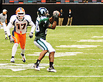 Highlights from football action between the Tulane Green Wave and UTEP Miners in the Louisiana Superdome on November 7, 2009. Tulane defeated UTEP 45-38 in overtime.