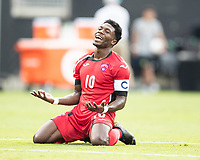 CHARLOTTE, NC - JUNE 23: Aricheell Hernandez #10 questions the referees call during a game between Cuba and Canada at Bank of America Stadium on June 23, 2019 in Charlotte, North Carolina.