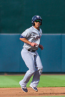 Colorado Springs Sky Sox third baseman Ivan De Jesus, Jr. (11) leads off second base during game one of a Pacific Coast League doubleheader against the Iowa Cubs on August 17, 2017 at Principal Park in Des Moines, Iowa. Iowa defeated Colorado Springs 1-0. (Brad Krause/Four Seam Images)